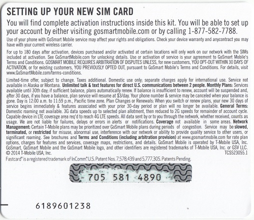 GoSmart Refill Card