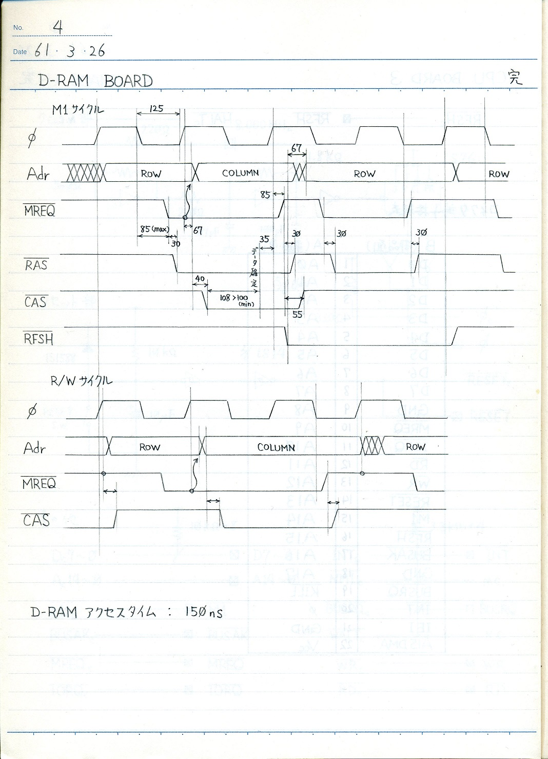 D-RAM timing chart